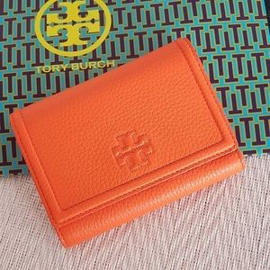 Tory Burch Thea Medium Flap Leather Wallet  Orange
